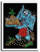Картина из пайеток Слон с тортом